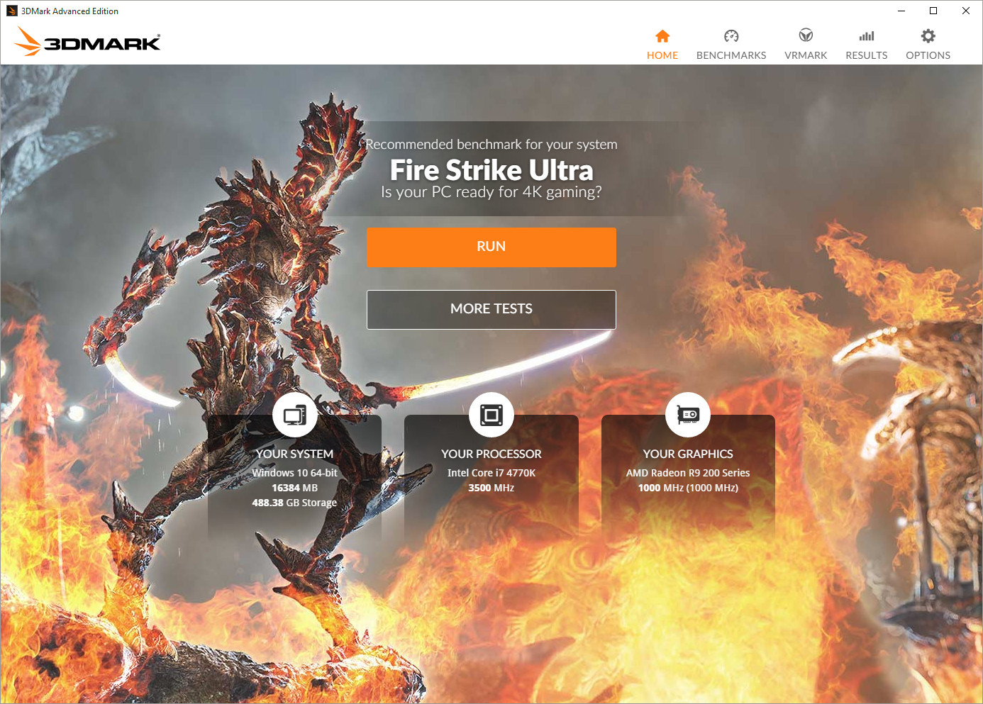 3DMark for Windows benchmark UI Home page